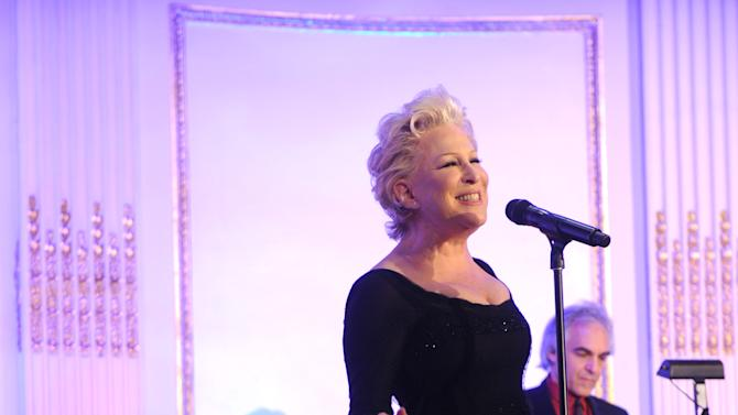 Bette Midler performs at The National Audubon Society's first gala to jointly award the Audubon Medal and the inaugural Dan W. Lufkin Prize for Environmental Leadership, Thursday, Jan. 17, 2013, in New York.  (Photo by Diane Bondareff/Invision for The National Audubon Society/AP Images)
