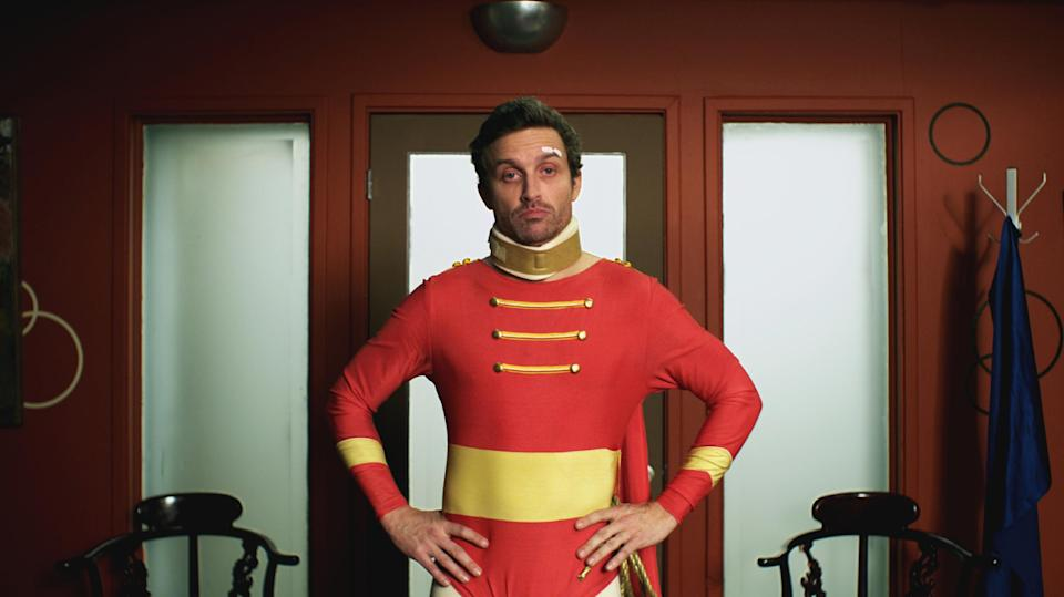 "This publicity photo released by Beck Media & Marketing shows Rob Benedict in a scene from the short film ""The Sidekick."" (AP Photo/Beck Media & Marketing, Steve Lubensky)"