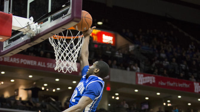 Creighton guard Jahenns Manigat (12) goes up for a layup during the first half of an NCAA college basketball game against Missouri State on Friday, Jan. 11, 2013, in Springfield, Mo. (AP Photo/David Welker)