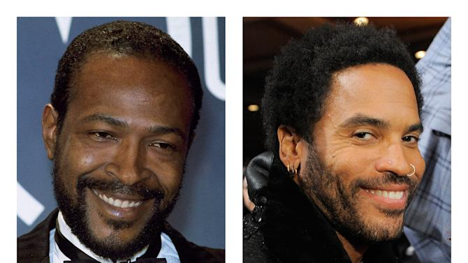 FILE - This combination of 1983 and 2012 file photos shows Marvin Gaye, left, and Lenny Kravitz. Kravitz has signed on for his first leading film role, playing Gaye in a biopic that will be shot in 2013, according to his publicist on Tuesday, Nov. 27, 2012. (AP Photo/Doug Pizac, Chris Pizzello)
