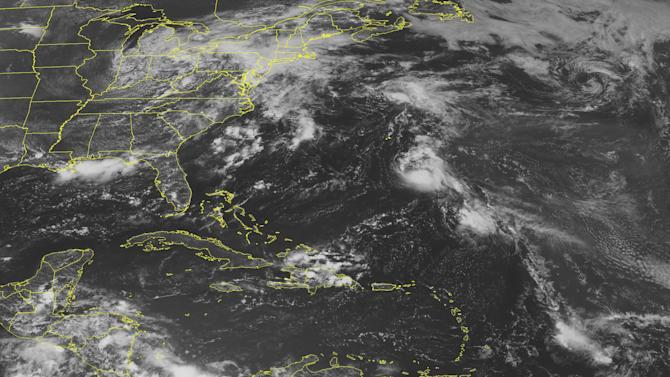 This NOAA satellite image taken Sunday, August 14, 2011 at 01:45 PM EDT shows Tropical Storm Gert located about 275 miles southeast of Bermuda.  Gert is moving northwest near 7 mph with maximum sustained winds of 40 mph. To the southeast of Gert, a trough of low pressure located about 425 miles northeast of the northern Leeward Islands continues to produce limited showers and thunderstorms.  Environmental conditions are expected to remain only marginally conducive for development over the next couple of days due to the proximity of Tropical Storm Gert.  This system has a medium chance, 30 percent, of a becoming a tropical cyclone during the next couple of days as it moves toward the northwest at 15 to 20 mph. (AP PHOTO/WEATHER UNDERGROUND)