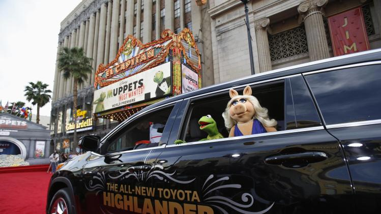 "The characters of Kermit and Miss Piggy arrive at the premiere of ""Muppets Most Wanted"" at El Capitan theatre in Hollywood"