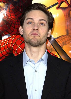 Tobey Maguire in the process of turning his frown upside-down at the LA premiere of Columbia Pictures' Spider-Man