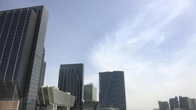 Buildings are seen at Sowwah Square on Marayah Island in Abu Dhabi