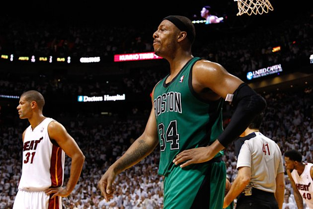 Paul Pierce #34 Of The Boston Celtics Reacts  Getty Images