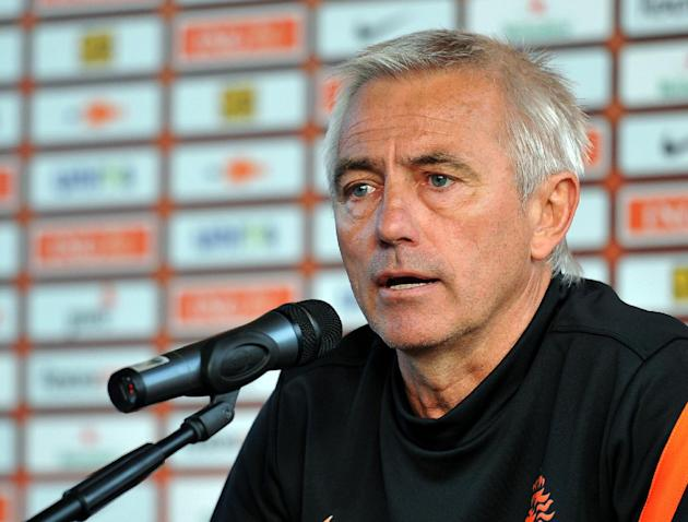 In this June 6, 2012 file photo Dutch head coach Bert van Marwijk addresses the media after a training session of the Netherlands at the Euro 2012 soccer championships in Krakow, Poland. Hamburger SV