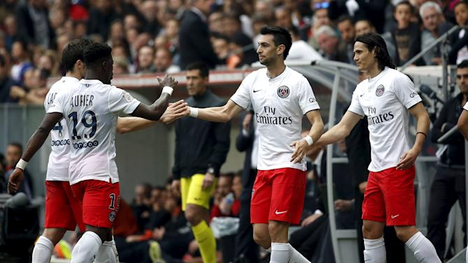 Paris St Germain's Pastore celebrates with team-mates after scoring gainst Nice during their Ligue 1 soccer match at Allianz Riviera stadium in Nice
