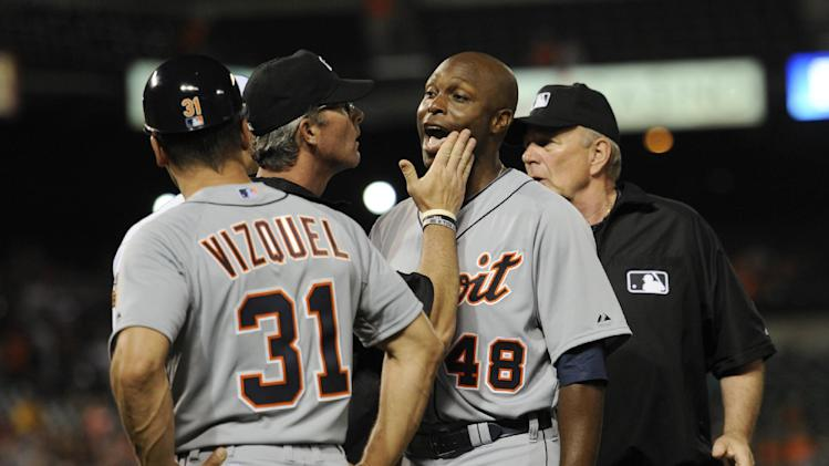 Torii Hunter OK with umpire Paul Nauert patting his face during…