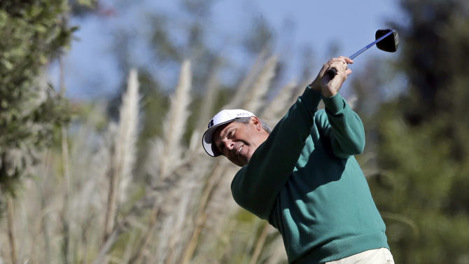 Fred Couples hits from the fifth tee during the first round of the Northern Trust Open golf tournament at Riviera Country Club in the Pacific Palisades area of Los Angeles. Thursday, Feb. 14, 2013. (AP Photo/Reed Saxon)