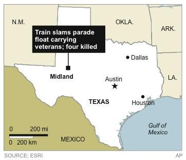 May locates town where a train slammed into a parade float carrying veterans