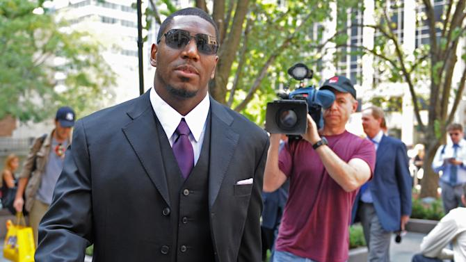 "FILE - In this Sept. 17, 2012 file photo, New Orleans Saints linebacker Jonathan Vilma arrives at the NFL football headquarters to meet with Commissioner Roger Goodell, in New York. Vilma is again asking a federal judge to overturn his suspension in the NFL's bounty probe of the Saints. In papers filed in U.S. District Court in New Orleans on Monday, Oct. 15, 2012, Vilma says Goodell engaged in a ""farcical review"" of his previously vacated disciplinary action before reaffirming the Saints linebacker's full-season ban last week. (AP Photo/ Louis Lanzano, File)"