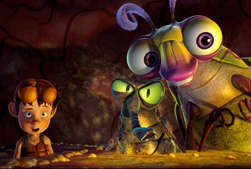 Lucas (voiced by Zach Tyler Eisen ), Fly (voiced by Mark DeCarlo ) and Beetle (voiced by Rob Paulsen ) in Warner Bros. Pictures' The Ant Bully