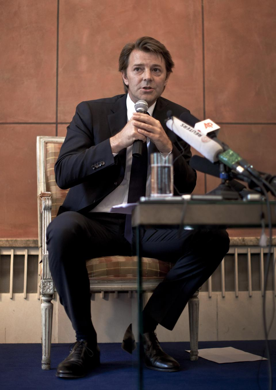 French Economy Minister Francois Baroin speaks during a news conference at the French Embassy in Beijing, China, Friday, Aug. 26, 2011. (AP Photo/Andy Wong)