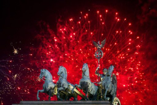Fireworks explode over of Berlin's landmark the Brandenburg Gate, where one of the country's biggest New Year's Parties was celebrated on January 1, 2012. According to the media, 400,000 spectators wa