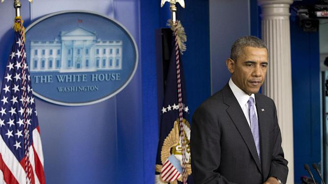 """President Barack Obama speaks about the ongoing situation in Ukraine in the Brady Press Briefing Room of the White House in Washington, Friday, Feb. 28, 2014. Obama warned Russia """"there will be costs"""" for any military intervention in Ukraine. (AP Photo/Pablo Martinez Monsivais)"""