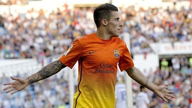 Barcelona's Tello celebrates scoring against Real Zaragoza (Reuters)
