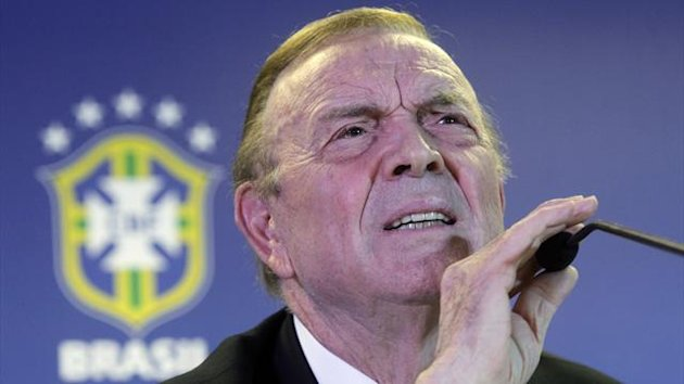 New president of the Brazilian Football Confederation (CBF) Jose Maria Marin listens to a question during a news conference (Reuters)