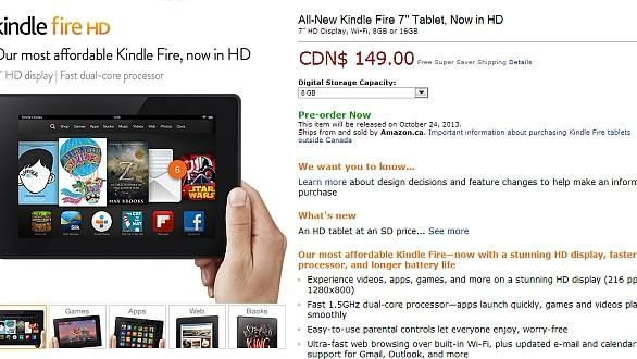 DNP Canadian preorders open for Kindle Fire HD and Kindle Fire HDX, starting at $149