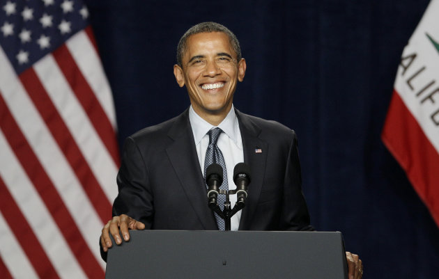 President Barack Obama smiles while speaking at the Fox Theater in Redwood City, Calif., Wednesday, May 23, 2012. (AP Photo/Jeff Chiu)
