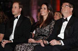 "Britain's Prince William and his wife Catherine, the Duchess of Cambridge, sit with Natural History Museum Director Dixon before a screening of ""David Attenborough's Natural History Museum Alive 3D"" in London"