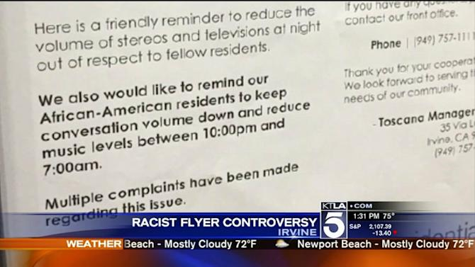 Woman Claims Racist Flyers Were Posted at Irvine Apartment Complex