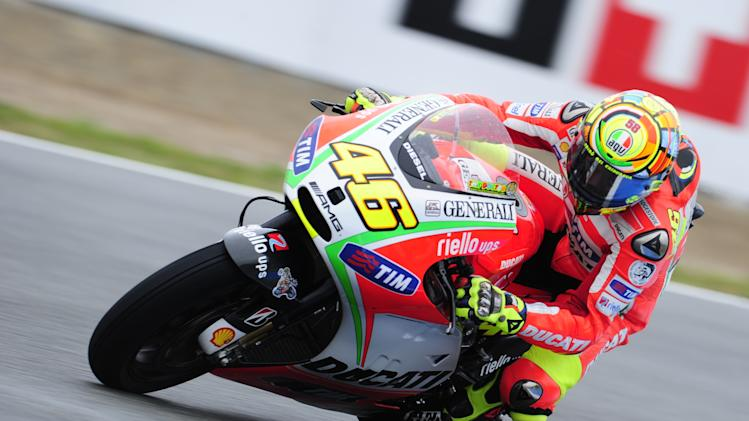 Ducati Team's Italian Valentino Rossi rides during the MotoGP third practice session of the Spanish Grand Prix at the Jerez racetrack in Jerez de la Frontera on April 28,  2012.   AFP PHOTO / JAVIER SORIANOJAVIER SORIANO/AFP/GettyImages