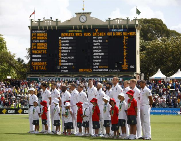 English team line up before the first day's play of the second Ashes test against Australia in Adelaide