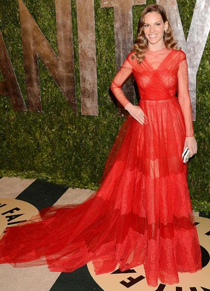 Best dressed: Hilary Swank Million Dollar Baby Valentino SS13 Couture Vanity Fair Party Image © Rex