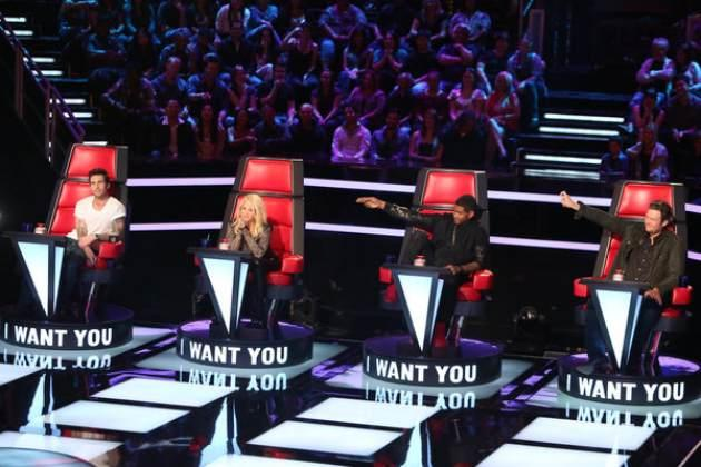 Adam Levine, Shakira, Usher and Blake Shelton on NBC's 'The Voice' -- NBC