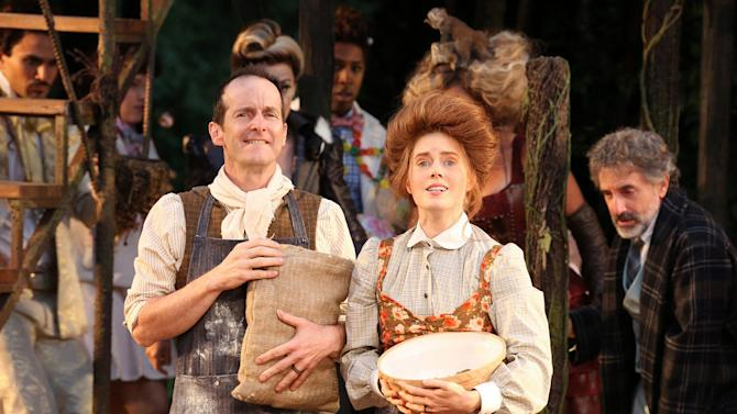 """This image released by The Public Theater shows Denis O'Hare, left, and Amy Adams in the Shakespeare in the Park production of """"Into the Woods,"""" in New York.  (AP Photo/The Public Theater, Joan Marcus)"""