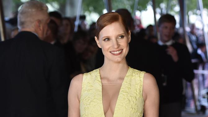"""U.S. actress Jessica Chastain arrives for the British premiere of the film """"Salome and Wilde Salome"""" at Southbank in London"""