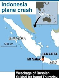Map showing Mount Salak in Indonesia where the wreckage of a Russian Sukhoi jet was found on May 9. All of the dozens aboard a Russian Sukhoi passenger jet flying on a sales promotion trip in Indonesia were killed when the plane slammed into a mountain, officials said on Thursday