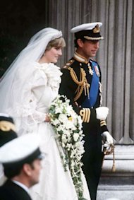 Prince Charles and his bride, Diana, Princess of Wales, on the way out of St. Paul's Cathedral at the end of their wedding ceremony on July 29, 1981 in London. (AP Photo) 