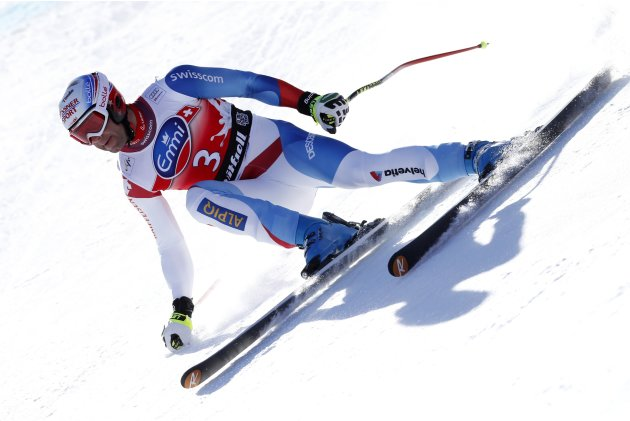 Defago of Switzerland competes during the Alpine Skiing World Cup men's downhill competition in Kvitfjell