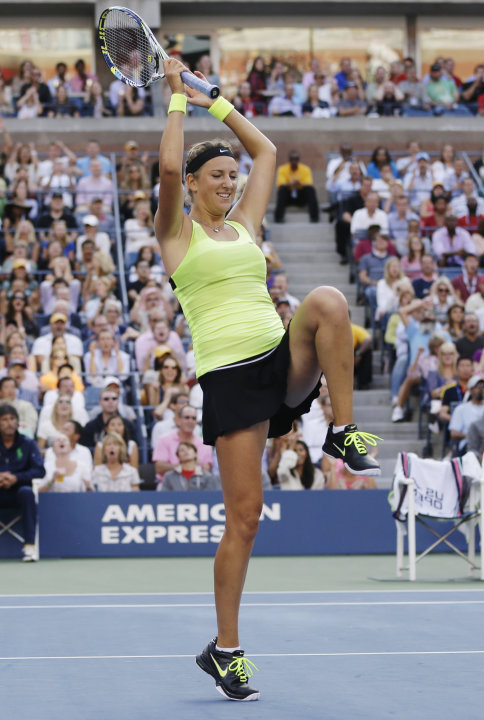 Victoria Azarenka, of Belarus, reacts while playing against Serena Williams during the championship match at the 2012 US Open tennis tournament,  Sunday, Sept. 9, 2012, in New York. (AP Photo/Darron C