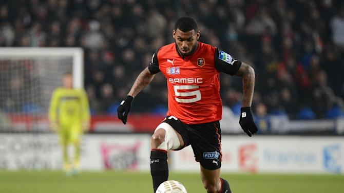 French midfielder Yann M'vila controls the ball during the French League Cup semifinal football match Rennes against Montpellier on January 16, 2013 in Rennes