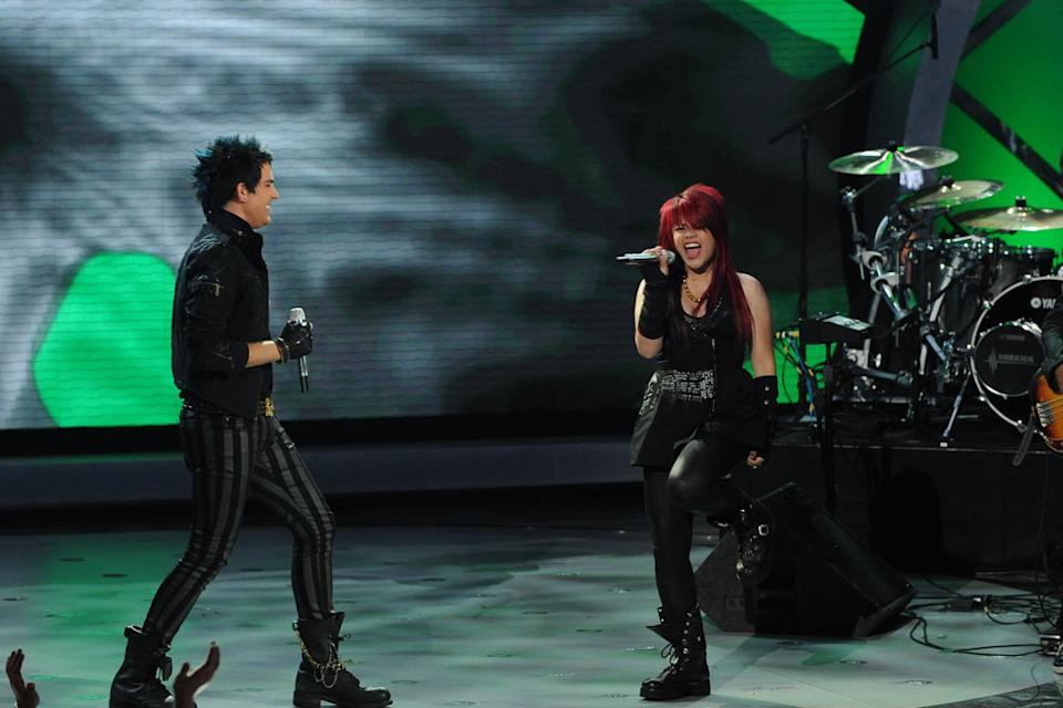 "Adam Lambert and Allison Iraheta perform ""Slow Ride"" by Foghat on ""American Idol."""