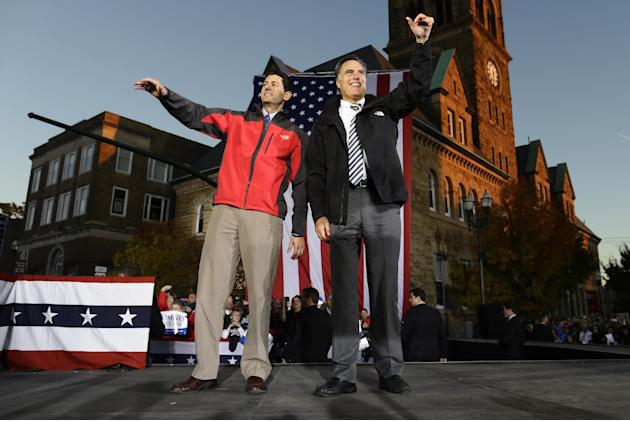 Republican presidential candidate and former Massachusetts Gov. Mitt Romney and Republican vice presidential candidate, Rep. Paul Ryan, R-Wis., campaign in Lancaster, Ohio, Friday, Oct. 12, 2012. (AP