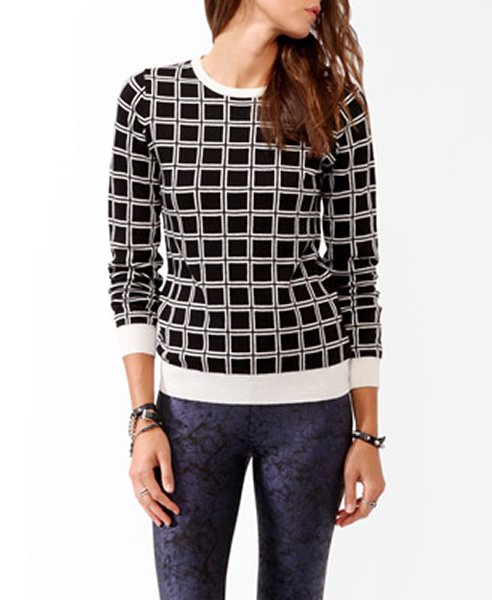 Grid pattern sweater in black and cream, $22.80, forever21.com
