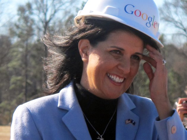 <p>               South Carolina Gov. Nikki Haley chats after helping break ground for an expansion of Google's Berkeley County data center campus near Moncks Corner, S.C., Friday, Jan. 18, 2013. The Internet giant announced it is investing an additional $600 million in the facility. (AP Photo/Bruce Smith)