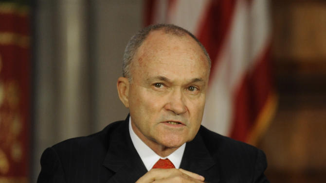 New York City Police Commissioner Ray Kelly speaks during a news conference at the Capitol in Albany, N.Y., on Monday, June 4, 2012.  New York Gov. Andrew Cuomo is proposing the decriminalization of the possession of small amounts of marijuana in public view.   (AP Photo/Tim Roske)