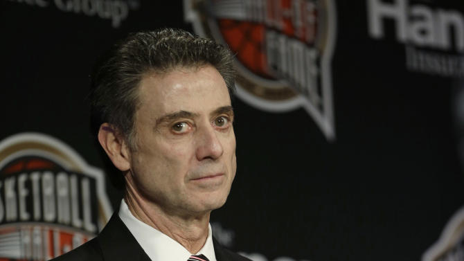 Louisville coach Rick Pitino looks on during the Naismith Memorial Basketball Hall of Fame class announcement, Monday, April 8, 2013, in Atlanta, Georgia. Pitino, who will coach Louisville in the NCAA championship game Monday night, is among seven people elected to the Hall of Fame. (AP Photo/Charlie Neibergall)