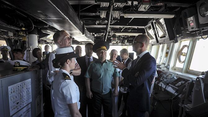 Ukraine's Prime Minister Yatseniuk visits USS destroyer Donald Cook during the opening ceremony of Sea Breeze 2015 military drill in Odessa