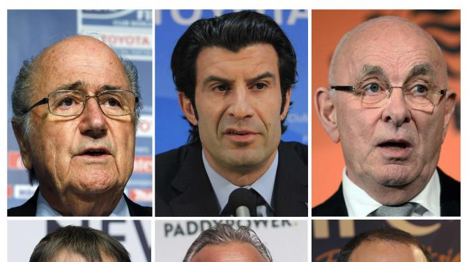 Combination of file pictures showing candidates running for the FIFA presidency