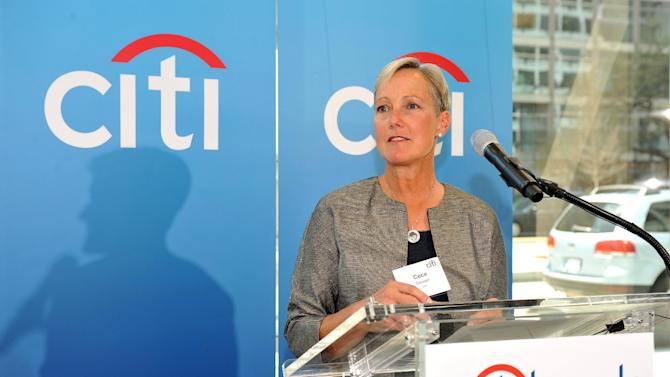 IMAGE DISTRIBUTED FOR CITI - Cece Stewart, President, US Consumer and Commercial Banking, speaks at Citibank's newest branch opening on Wednesday, April 10, 2013 in Washington. Citibank's branch network spans approximately 4,000 worldwide. (Larry French/AP Images for Citi)