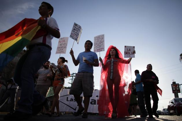 "Activists take part in a ""March of the Whores"" to protest against discrimination and violence against women in Monterrey"