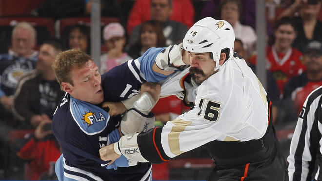 Krystofer Barch #21 Of The Florida Panthers And George Parros #16 Of The Anaheim Ducks Fight Getty Images
