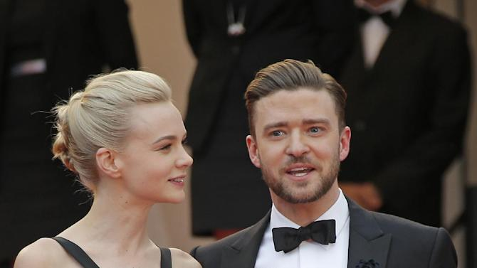 Actors Carey Mulligan, left, and Justin Timberlake arrive for the screening of the film Inside Llewyn Davis at the 66th international film festival, in Cannes, southern France, Sunday, May 19, 2013. (AP Photo/Lionel Cironneau)