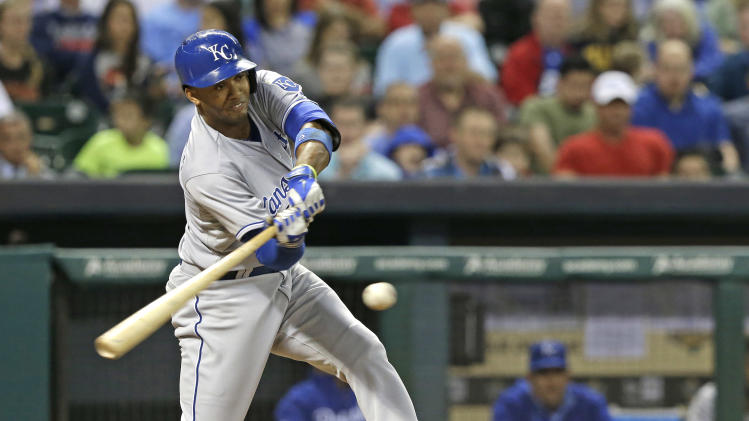 Kansas City Royals' Alcides Escobar connects for a two-run double against the Houston Astros in the fourth inning of a baseball game Thursday, April 17, 2014, in Houston. (AP Photo/Pat Sullivan)