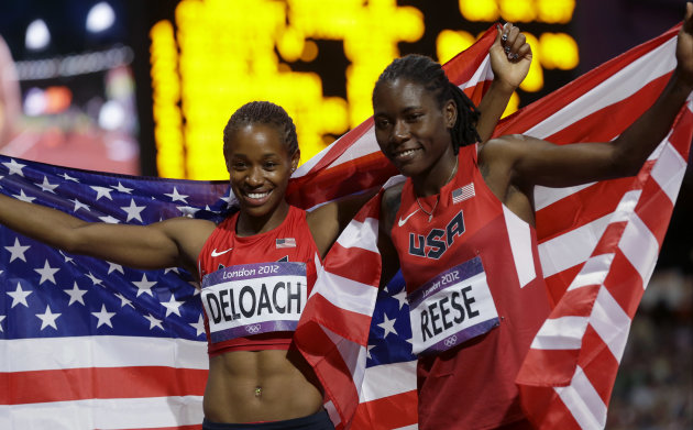 United States&amp;#39; bronze medalist Janay DeLoach, left, and gold medalist United States&amp;#39; Brittney Reese, right, celebrate thrir wins in the women&amp;#39;s long jump during the athletics in the Olympi
